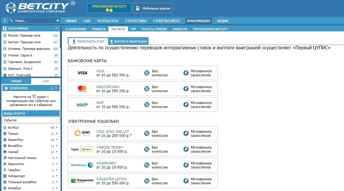 Платежные системы betcity ru